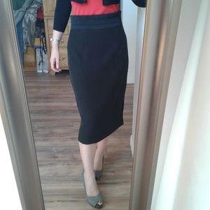 Eva Mendes High Waist Black Tuxedo Midi Skirt